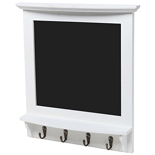 Wall-Mounted-Vintage-Rustic-Wood-Framed-Memo-Message-Black-Chalkboard-w-4-Storage-Coat-Hooks-MyGift-0-0