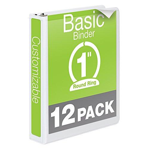 Wilson-Jones-Round-Ring-View-Binder-1-Inch-Basic-Customizable-White-12-Pack-W362-14WPK-0