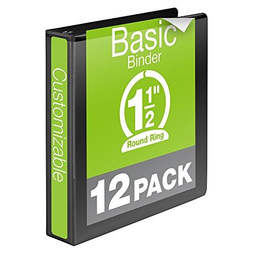 Wilson-Jones-Round-Ring-View-Binder-15-Inch-Basic-Customizable-Black-12-Pack-W362-34BPK-0