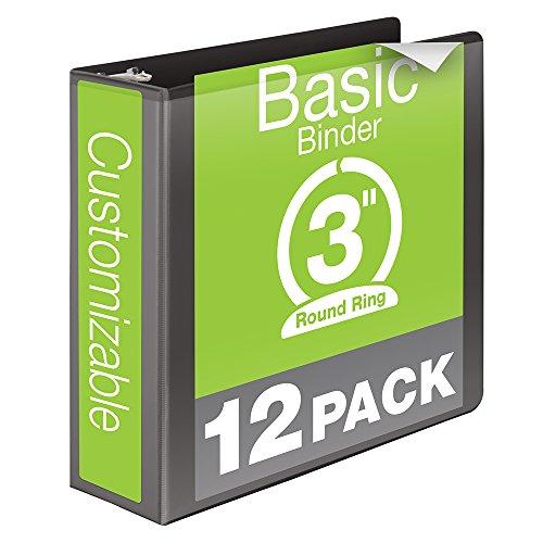 Wilson-Jones-Round-Ring-View-Binder-3-Inch-Basic-Customizable-Black-12-Pack-W362-49BPK-0