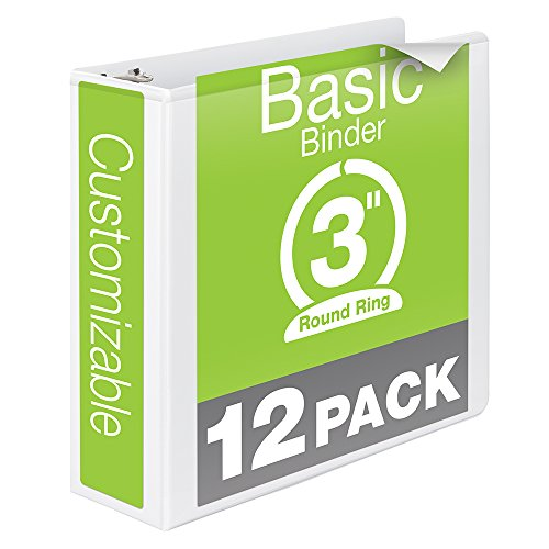 Wilson-Jones-Round-Ring-View-Binder-3-Inch-Basic-Customizable-White-12-Pack-W362-49WPK-0