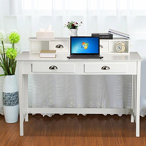 World-Pride-Writing-Desk-Home-Office-Computer-Desk-Wood-Organizer-with-4-Drawers-White-0-0
