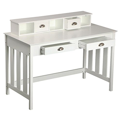 World-Pride-Writing-Desk-Home-Office-Computer-Desk-Wood-Organizer-with-4-Drawers-White-0-1