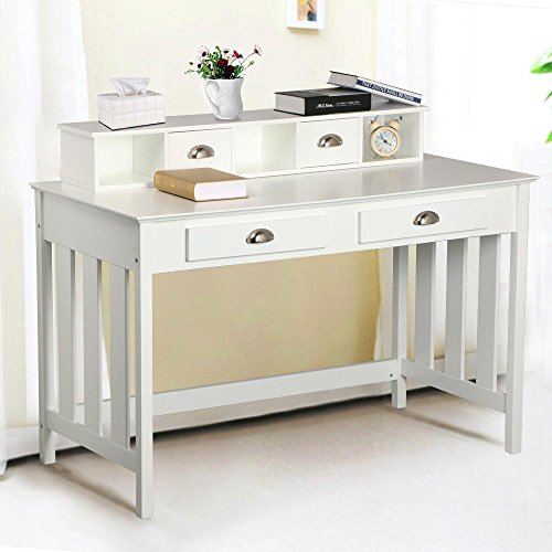 World-Pride-Writing-Desk-Home-Office-Computer-Desk-Wood-Organizer-with-4-Drawers-White-0