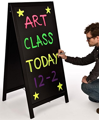 Write-On-A-Frame-Black-Matte-MDF-Frame-Liquid-Chalk-Menu-Stand-with-20w-x-42h-Writable-Message-Area-Tall-Sandwich-Board-Double-Sided-0-1
