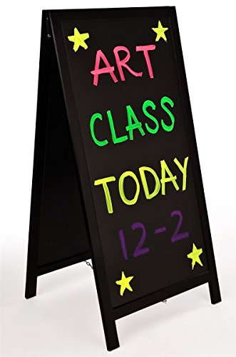 Write-On-A-Frame-Black-Matte-MDF-Frame-Liquid-Chalk-Menu-Stand-with-20w-x-42h-Writable-Message-Area-Tall-Sandwich-Board-Double-Sided-0