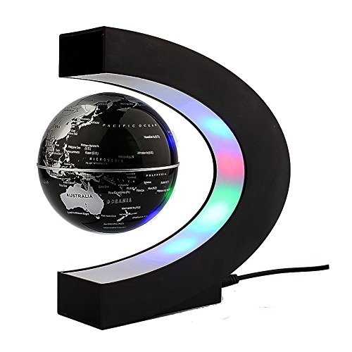 Xin-store-C-Shape-Magnetic-Levitation-Floating-3-Inches-Globe-World-Map-with-LED-Light-for-Home-Office-Decoration-Learning-Teaching-SilverBlack-0-0