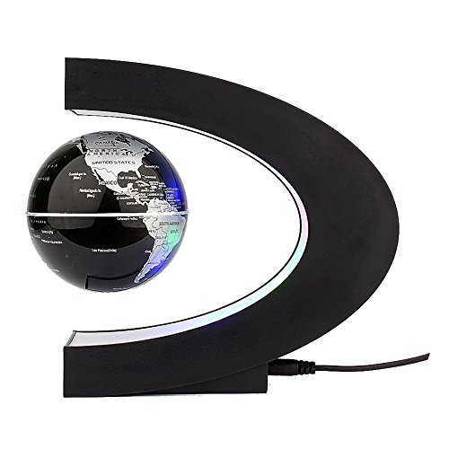 Xin-store-C-Shape-Magnetic-Levitation-Floating-3-Inches-Globe-World-Map-with-LED-Light-for-Home-Office-Decoration-Learning-Teaching-SilverBlack-0-1