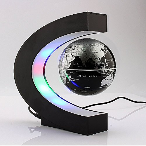 Xin-store-C-Shape-Magnetic-Levitation-Floating-3-Inches-Globe-World-Map-with-LED-Light-for-Home-Office-Decoration-Learning-Teaching-SilverBlack-0