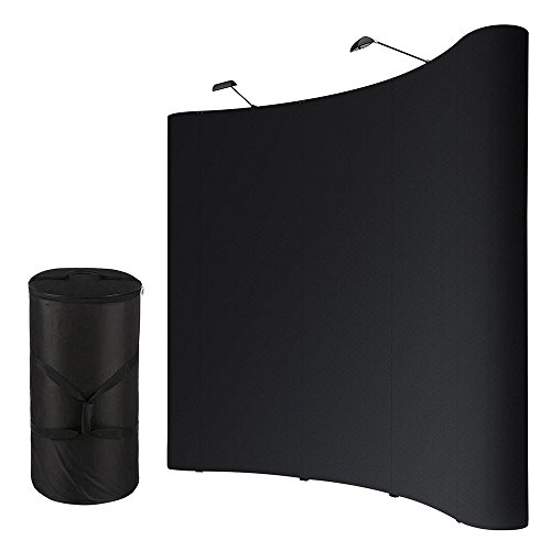 Yescom-10X8Ft-Black-Tradeshow-Booth-Exhibit-Pop-Up-Display-Kit-w-Clip-on-Halogen-Spotlights-Portable-Rolling-Case-0-0
