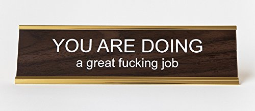You-Are-Doing-A-Great-Fcking-Job-Engraved-Office-NameplatePlaque-2-x-8-Brown-and-Gold-0
