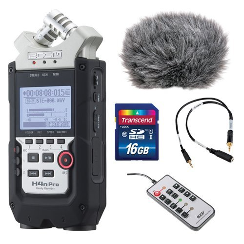 Zoom-H4n-Pro-4-Channel-Handy-Recorder-Bundle-with-Custom-Windbuster-for-Zoom-H4n-Line-to-Mic-Attenuator-Cable-Remote-Control-for-Zoom-H4n-and-16GB-SD-Card-0