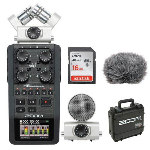 Zoom-H6-Portable-Recorder-Kit-with-Custom-Windbuster-16GB-SDHC-Memory-Card-Ultra-SKB-iSeries-Waterproof-Case-for-Zoom-H6-Recorder-0
