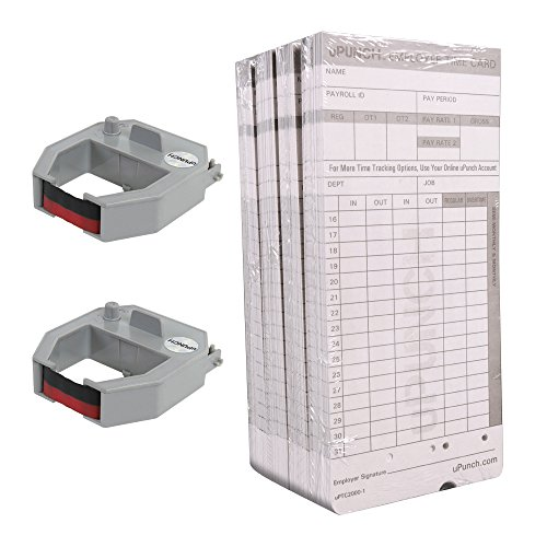 uPunch-2-Pack-Ribbon200-Card-Combo-for-Gray-HN4000-AutoAlign-Calculating-Time-Clocks-HNRL2TCL2200-0